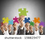 concept of teamwork and...   Shutterstock . vector #158825477