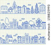 houses doodles on school... | Shutterstock . vector #158825993
