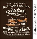 vintage seaplane airmail... | Shutterstock .eps vector #158879567
