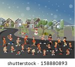 adolescent,boy,brother,building,cartoon,cheerful,child,childhood,christmas,city,claus,dad,deer,eve,family