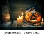 scarved jack o lantern on a... | Shutterstock . vector #158917253
