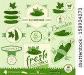 cucumber, vegetables, food product label,background packaging design - stock vector