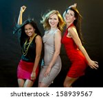 beautiful three women having... | Shutterstock . vector #158939567