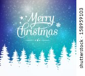 merry christmas winter snowy... | Shutterstock .eps vector #158959103