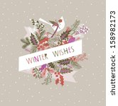 winter wishes print design | Shutterstock .eps vector #158982173
