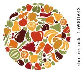 fruit and vegetables | Shutterstock .eps vector #159001643
