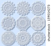 circle lace ornament  round... | Shutterstock . vector #159014273