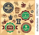 elegant vector coffee labels... | Shutterstock .eps vector #159017987