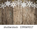 Snowflakes Border On Grunge...