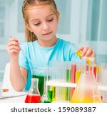 cute little girl with flasks... | Shutterstock . vector #159089387