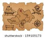 pirate treasure map  | Shutterstock . vector #159105173