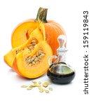 fresh pumpkin and pumpkin oil... | Shutterstock . vector #159119843