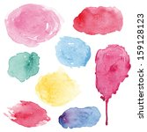 watercolor splashes set in... | Shutterstock .eps vector #159128123