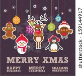 cute christmas characters... | Shutterstock .eps vector #159144917