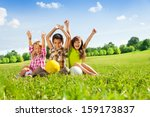 portrait of three happy kids ... | Shutterstock . vector #159173837