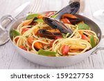 spaghetti with shrimp and mussel | Shutterstock . vector #159227753
