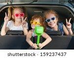 two little girls  and boy... | Shutterstock . vector #159237437