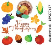 happy thanksgiving elements and ... | Shutterstock .eps vector #159277637