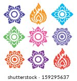 colorful floral and leaves of Thai pattern on white background, vector set - stock vector