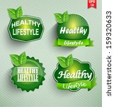 healthy lifestyle set. vector. | Shutterstock .eps vector #159320633