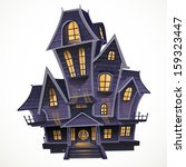 happy halloween cozy haunted...   Shutterstock .eps vector #159323447