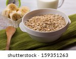 oat flakes in  bowl with banana ... | Shutterstock . vector #159351263