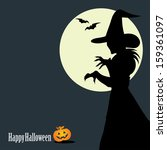 halloween background with witch ... | Shutterstock .eps vector #159361097