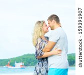 portrait of a happy couple in... | Shutterstock . vector #159391907