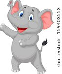 cute elephant cartoon presenting | Shutterstock . vector #159403553