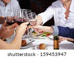 friends toasting with glasses... | Shutterstock . vector #159453947