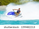 man on jet ski having fun in... | Shutterstock . vector #159482213