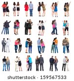 "Small photo of Collection ""Back view of walking young couple"". Rear view people collection. backside view of person. Isolated over white background. young couples in official and street clothes moved"