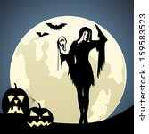 witch on moon background | Shutterstock .eps vector #159583523