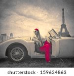 beautiful woman on a vintage... | Shutterstock . vector #159624863