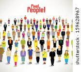 a big group of people gather... | Shutterstock .eps vector #159628967