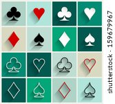 Vector Flat Card Suit Icon Set...