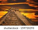 kukulkan pyramid in chichen...   Shutterstock . vector #159720293
