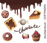 chocolate icons set | Shutterstock .eps vector #159794093