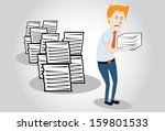 overworked office manager.... | Shutterstock .eps vector #159801533