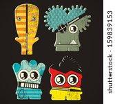 set of four monsters on retro... | Shutterstock .eps vector #159839153