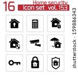 vector black home security...   Shutterstock .eps vector #159886343