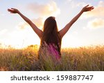 woman in beautiful nature... | Shutterstock . vector #159887747