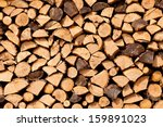 Stack Of Dried Firewood Of...