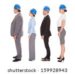 group of happy architects over... | Shutterstock . vector #159928943