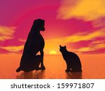 Black Silhouette Of A Cat Next...