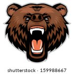 angry brown bear head - stock vector