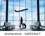 man in airport and airplane in... | Shutterstock . vector #160014617