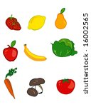 fruits and vegetables icons... | Shutterstock . vector #16002565