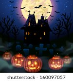 halloween wicked house with... | Shutterstock .eps vector #160097057