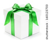 gift box with green ribbon and... | Shutterstock . vector #160123703